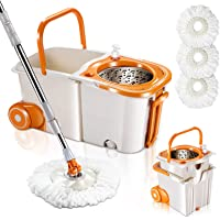 MASTERTOP Spin Mop Bucket System with Wringer Set - Floor Mop Stainless Steel Mop Handle, Mop Buckets Separate Clean and…