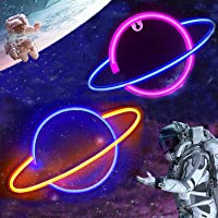 Neon Signs,[2Pc]Planet Led Neon Light Wall Light Decor,USB Charging/Battery Operated Kids Room Decor Pink/Blue/Yellow…