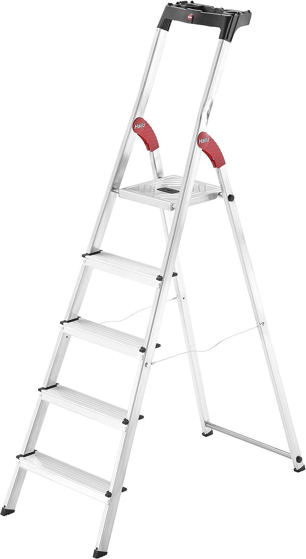 6 Stufen 8160-607 made in Germany Hailo L60 StandardLine Alu-Sicherheits-Stehleiter belastbar bis 150 kg Ablageschale silber