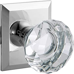 Crystal KNOB Privacy Diamond Square Rosette, Polished Chrome