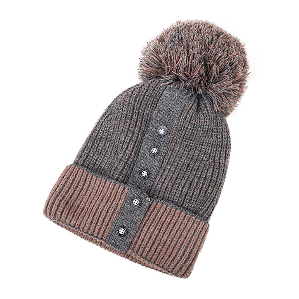 c84fec52122529 Amazon.com: LIULIULIU🍒Ladies Winter Fur Pom Pom Patchwork Button Hat Keep Warm  Hairball Crimping Cap (Gray): Garden & Outdoor