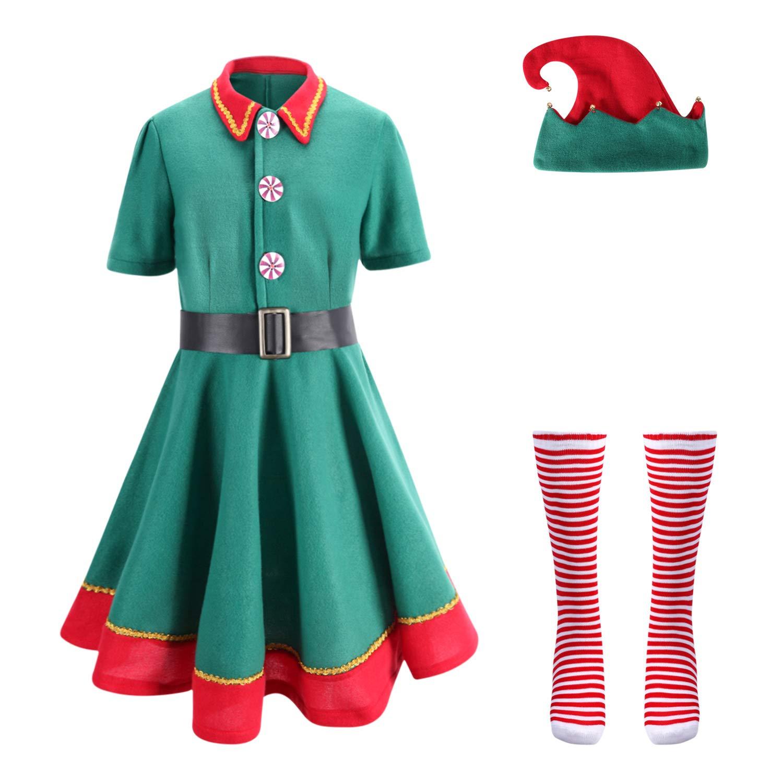 Kinder Mädchen Jungen Santa S Kleine Helfer Elfen Kostüm Weihnachtskleidung