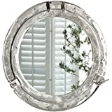 Silver Aluminium Porthole Wall Mirror Ø 44 cm