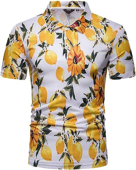 Camisa Hawaiana para Hombre Camisas Corta Fibujos Hombre Ropa Estampada de Verano Camiseta Casual de Manga Corta Blusas Camisa Negra Rayas Hombre Jodier (XXL, Yellow): Amazon.es: Deportes y aire libre