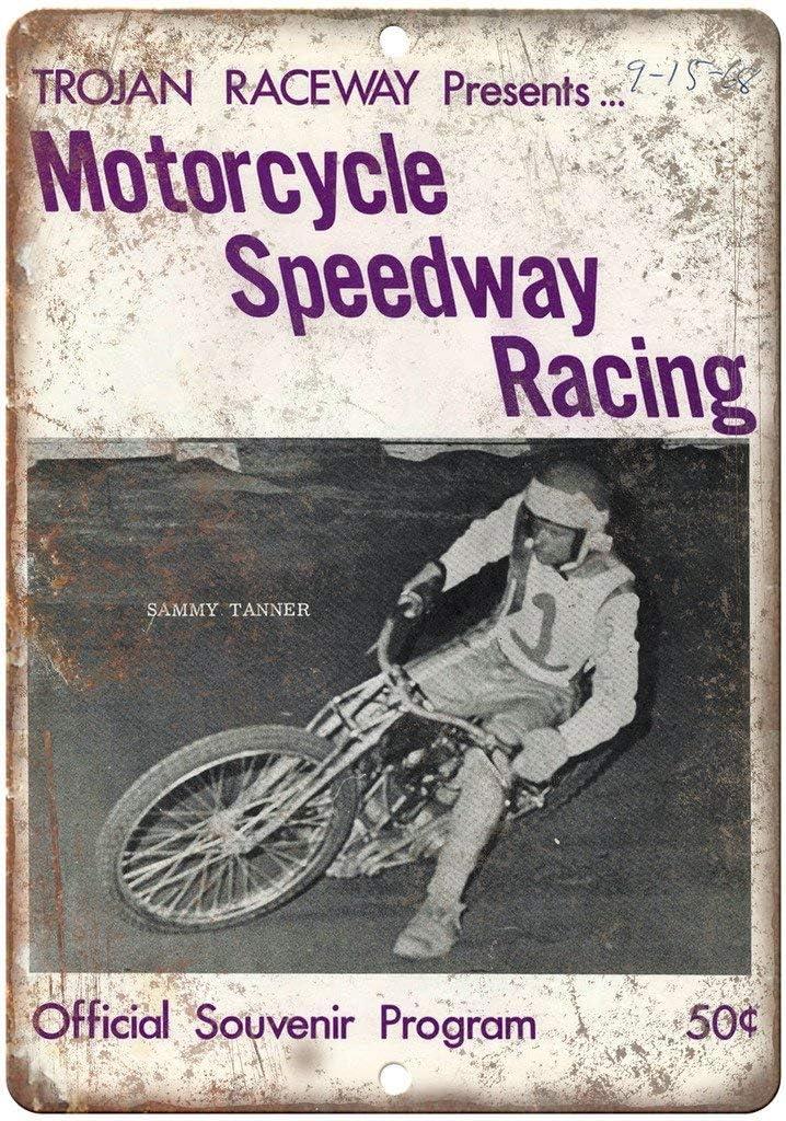 20,3 x 30,5 cm YelenaSign Metallschild troyan Raceway Motorrad Speedway Racing Retro Look A560