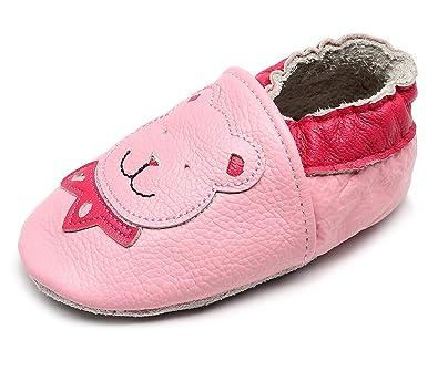 Amazon.com: HONGTEYA Zapatillas de piel auténtica para bebé ...