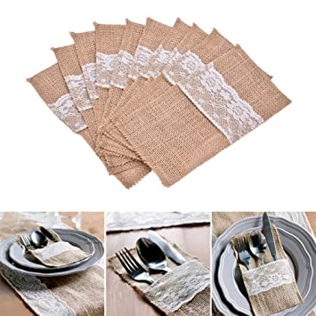 Amazon De 10x Toruiwa Hochzeit Tischdeko Jute Bestecktasche