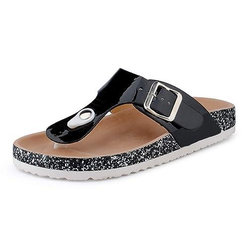 FiveSix Damen Pantoletten Metallic Schlappen Glitzer Zehentrenner Komfort Sandaletten Sandalen