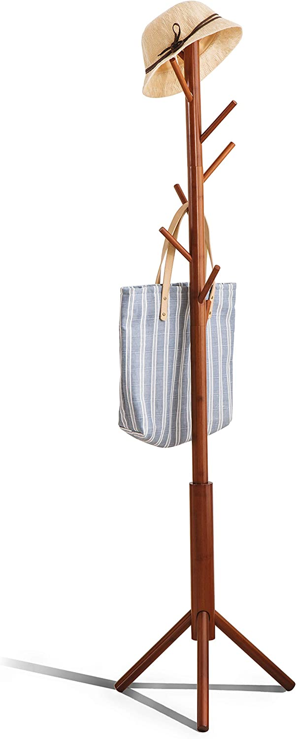 Amazon Com Premium Bamboo Coat Rack Tree With 8 Hooks 3 Adjustable Sizes Free Standing Wooden Coat Rack Super Easy Assembly Hallway Entryway Coat Hanger Stand For Clothes Suits Home Improvement