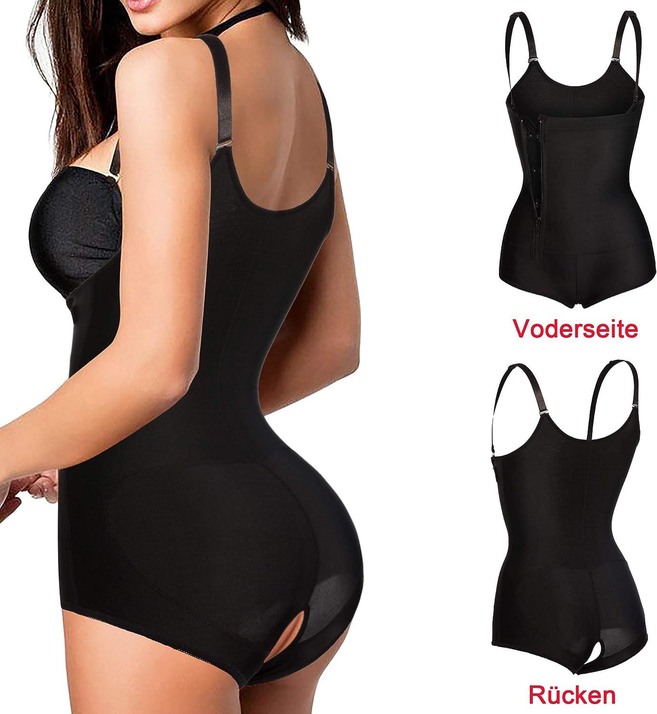 Bafully Damen Einstellbar K/örperformer Bauchkontrolle Shapewear Latex Figur Formende Bodys schlank Body Shaper Korsett mit Rei/ßverschluss