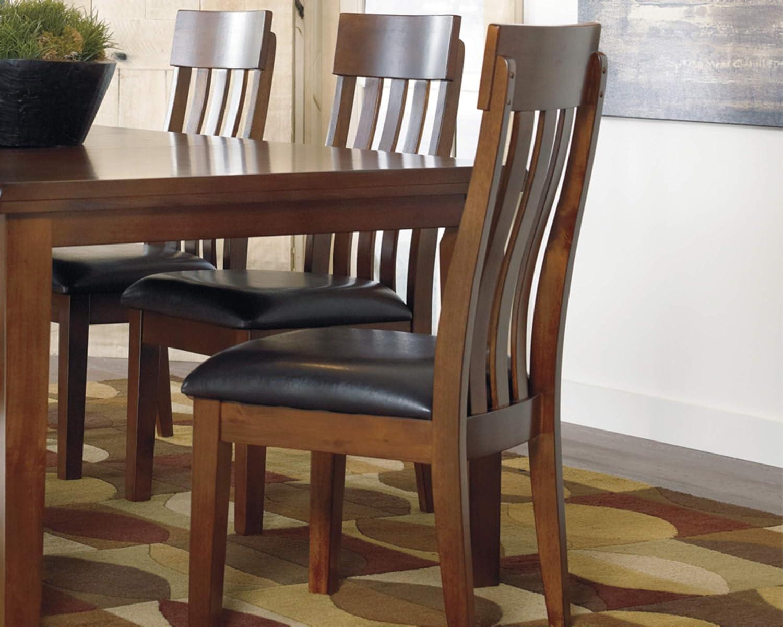 Ashley Furniture Signature Design – Ralene Upholstered Dining Side Chair – Rake Back Style – Set of 2 – Medium Brown
