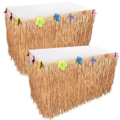 Kicko Luau Hawaiian Grass Table Skirt Decorations - 2 Pack 9 Feet X 29 Inches - Real Hawaiian Island Party Feel - Party Decoration, Events, Birthdays, Celebration: Toys & Games