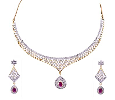 143eb0706 Buy Darshini Designs Mesmerizing Diamond Look Like American Diamond  Necklace Set with Matching Earrings for Women (Pink) Online at Low Prices  in India ...