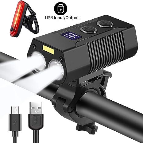 Nestling Luces Bicicleta,1800 lúmenes 4000mAh USB Recargables Luces de Bicicleta con luz Auxiliar, Luces de Bicicleta Impermeables,luz de Bicicleta para Carretera y montaña - 5 Modos: Amazon.es: Deportes y aire libre