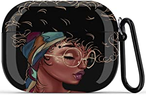 Black Girl Airpods Pro Case - Fibuntun African American Protective Hard Case Cover Skin Portable & Shockproof Women Girls with Keychain for Apple Airpods Pro Charging Case (Black Girl Right)
