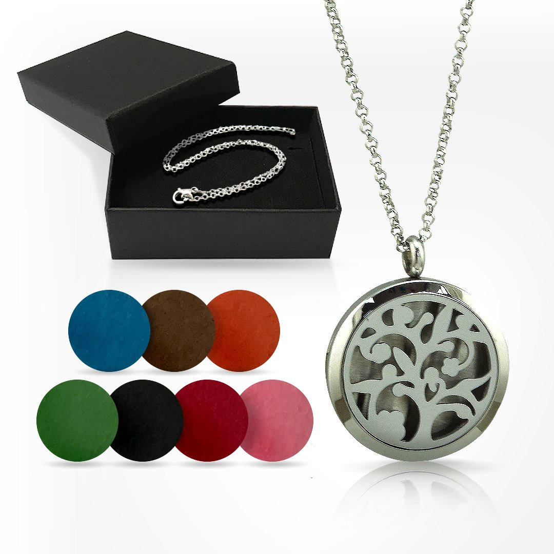 Essential Oil Diffuser Necklace for Aromatherapy with Two Silver Stainless Steel Adjustable Chain Necklaces, and the Tree of Life Locket Jewelry Design, for Women, Girls