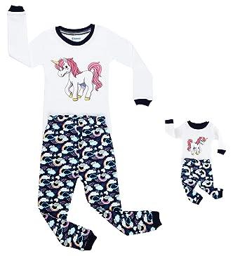87e1f57172eb7 elowel ''Licornes Le Meme Fille Et Poupee Ensemble Bien Serre, Coupe  Etroite Pyjama