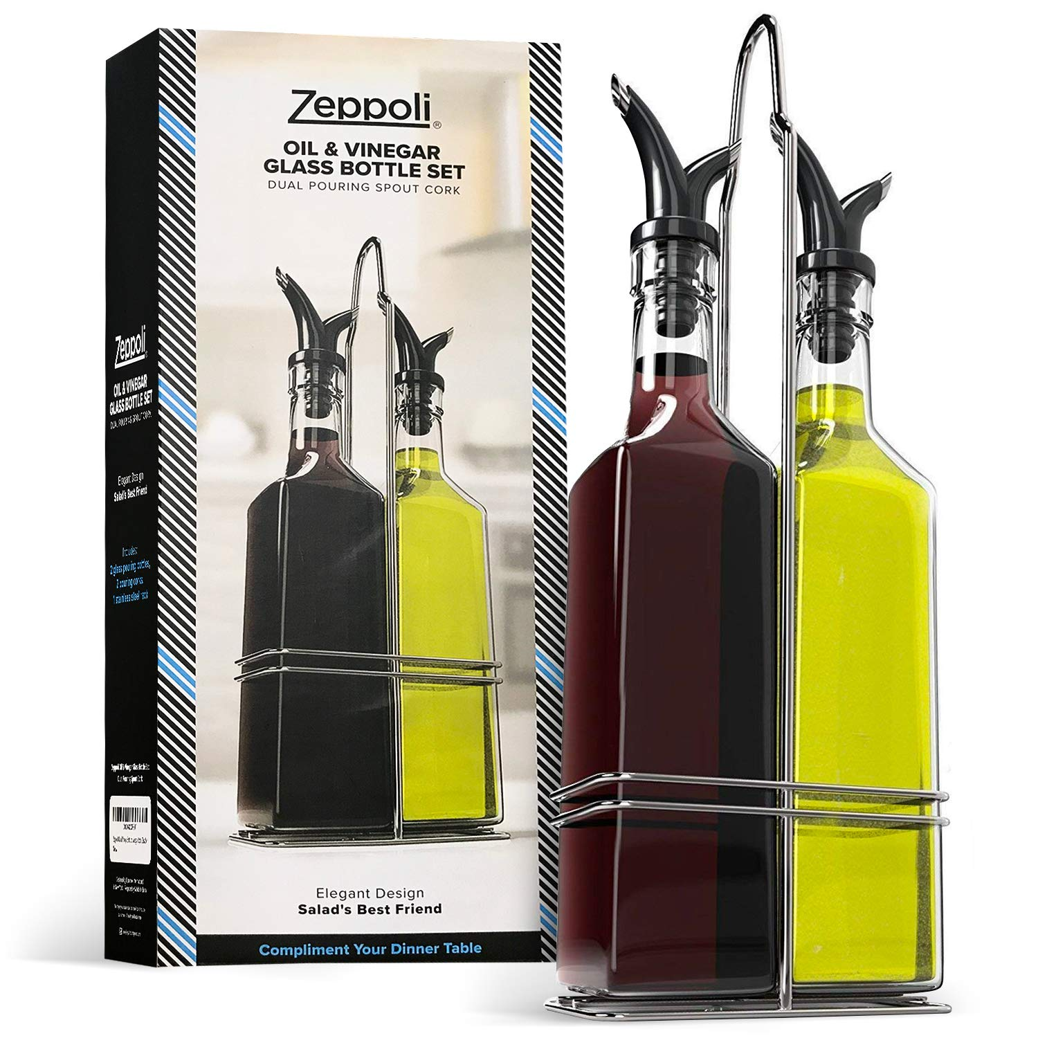 Zeppoli Oil and Vinegar Bottle Set with Stainless Steel Rack and Removable Cork - Dual Olive Oil Spout - Olive Oil Dispenser, 17oz Olive Oil Bottle and Vinegar Bottle Glass Set by Zeppoli