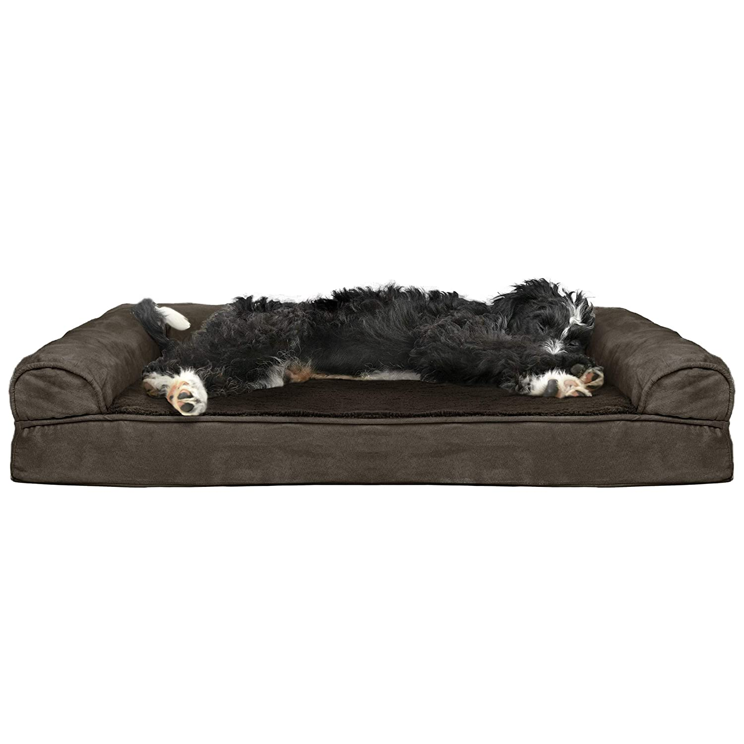 Furhaven Pet Dog Bed   Cooling Gel Memory Foam Orthopedic Ultra Plush Sofa-Style Couch Pet Bed for Dogs & Cats, Espresso, Large