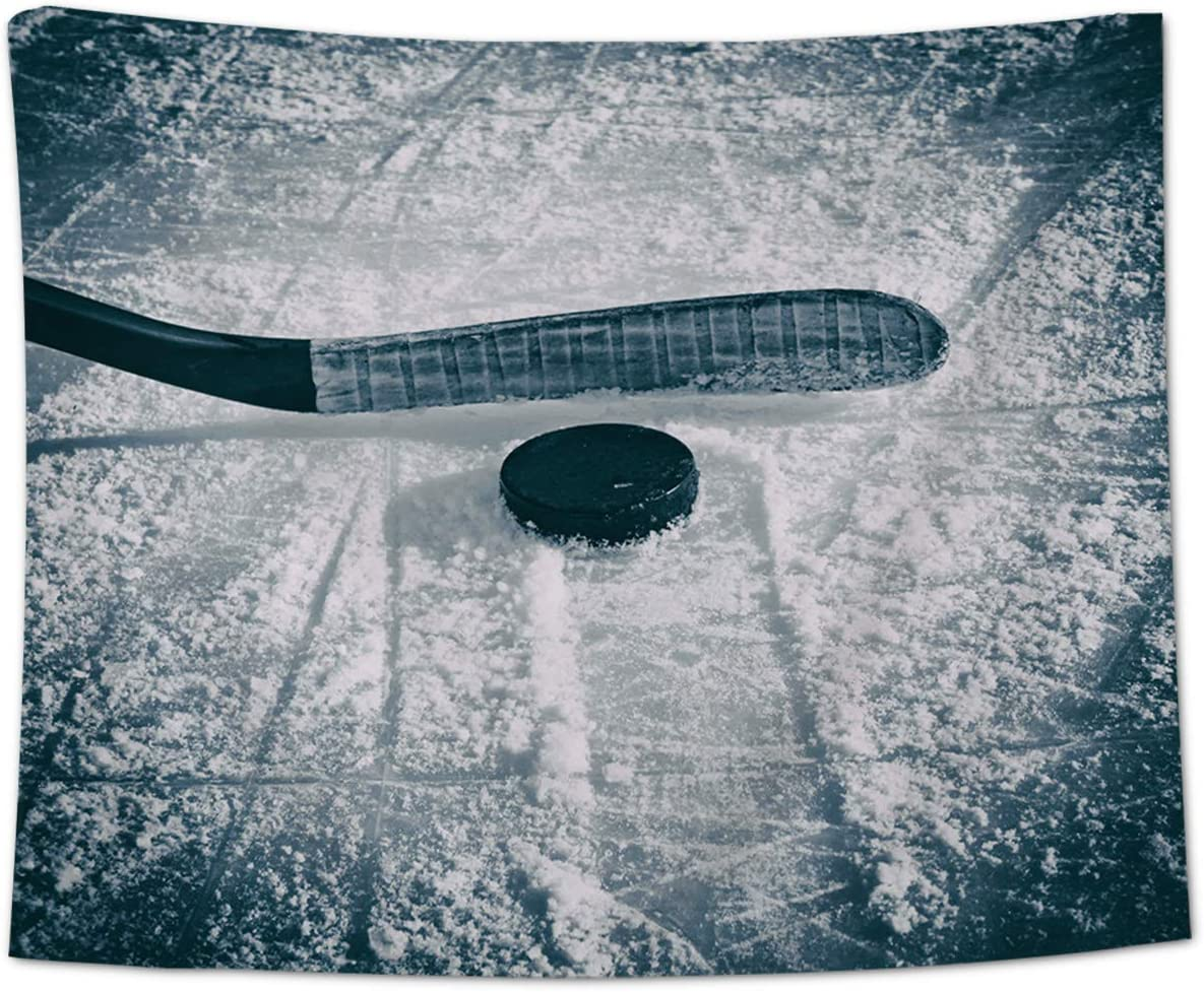 Chees D Zone Wall Hanging Tapestry Hockey Equipment on The Rink Art Decor Throw Tapestries for Bedroom Living Room Dorm Home Winter Outdoor Lifestyle 59×90 inch
