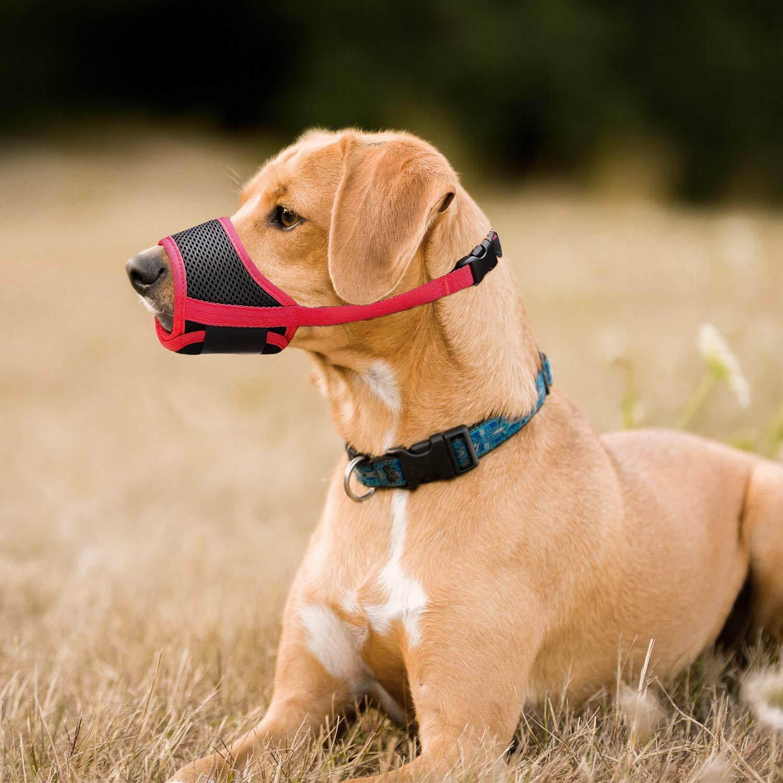 XS, rojo IREENUO Bozal para perro para evitar mordeduras ladridos y masticar con malla transpirable ajustable