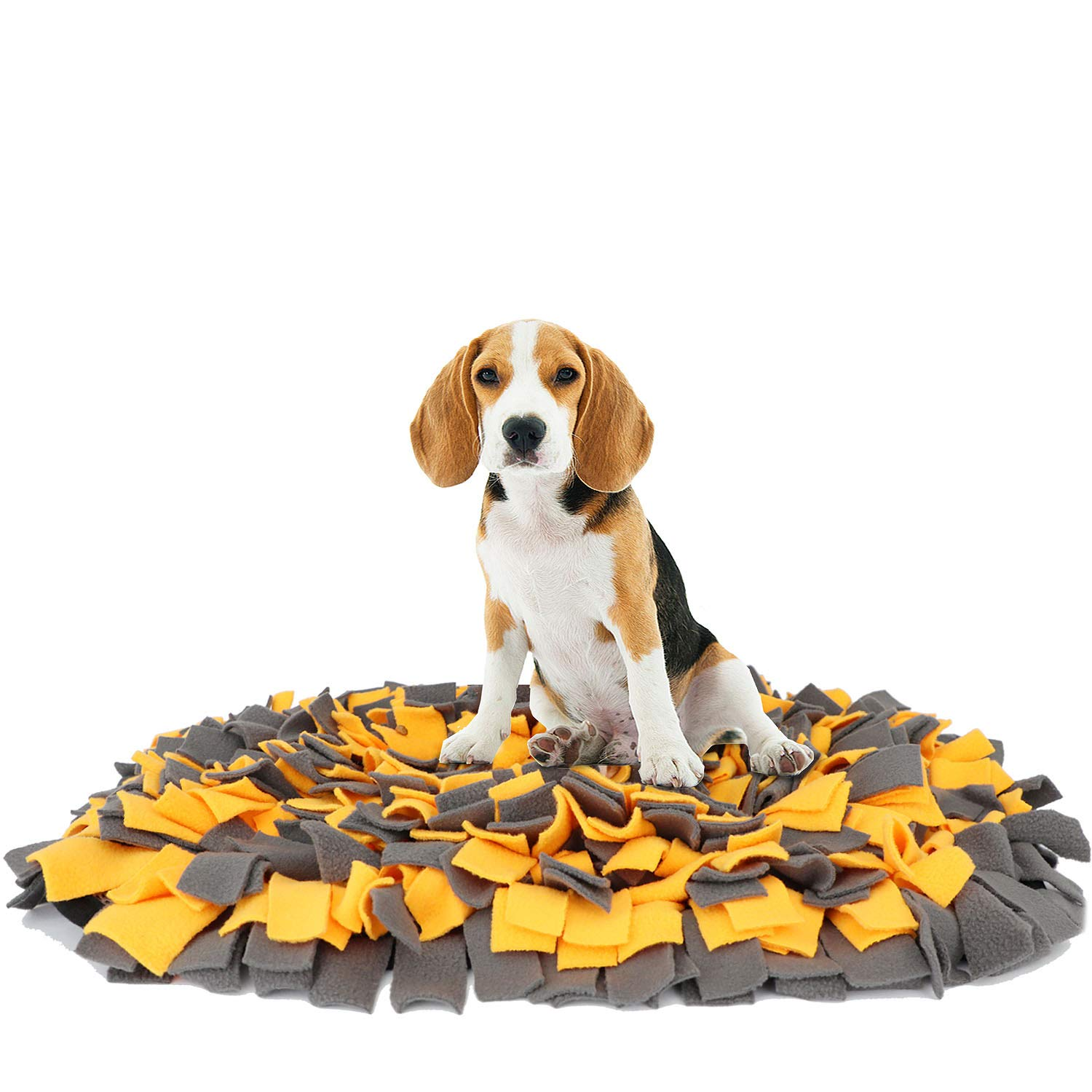 YINXUE Pet Snuffle Mat Durable Washable Dog Slow Feeding Mat (22'' x 16'') Anti Slip Puzzle Blanket for Distracting Smell Training Foraging, Yellow-Grey by YINXUE