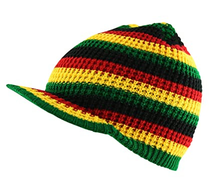Image Unavailable. Image not available for. Colour  Itzu Crochet Knitted  Peaked Rasta Beanie Peak Visor Cap Hat in Black Red Yellow Green by a1fb9f156d6a