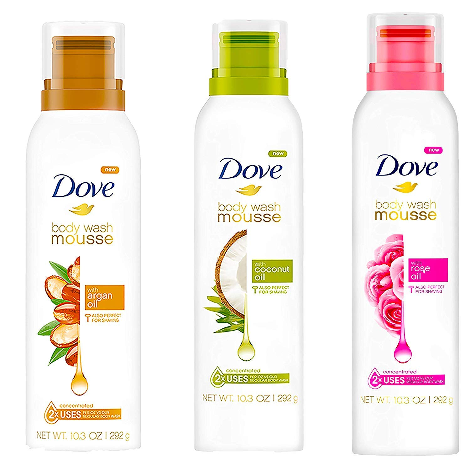 Amazon Com Dove Body Wash Argan Oil Coconut Oil Rose Concentrated Foaming Mousse Shower Gel 10 3 Oz Combo 3 Beauty