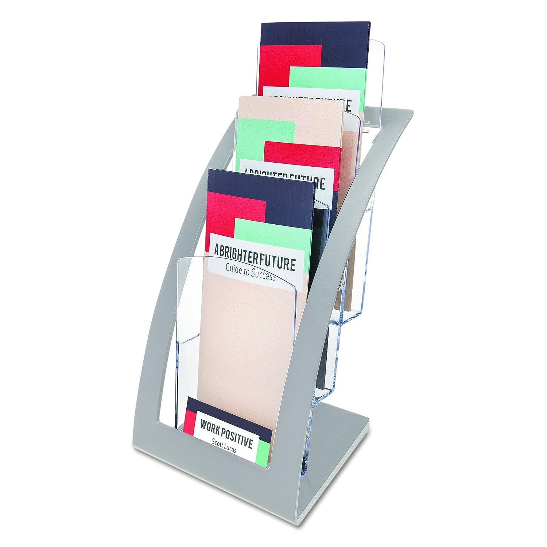 Deflect-o Contemporary Literature Holder -13.3 Heightx6.8 Widthx6.9 Depth -3 Tier(s) -Clear,Silver S.P. Richards CA 693645