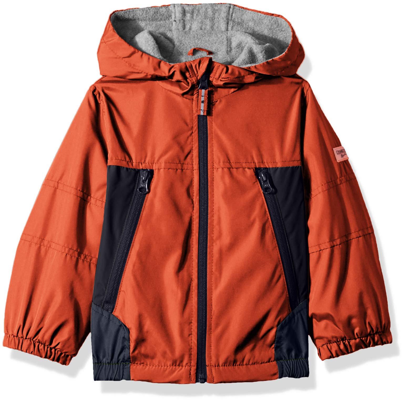 Osh Kosh Boys' Toddler Midweight Jacket, Edgy Orange/Navy/Grey, 2T