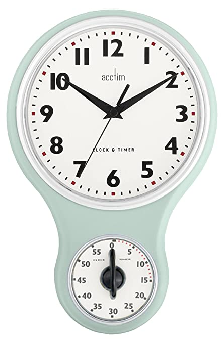 Acctim Kitchen Time Wall Clock & 1 Hour Timer in Mint Green