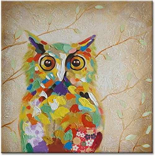 SEVEN WALL ARTS – 100 Hand Painted Oil Painting Animal Colorful Birds Painting with Stretched Frame Wall Art for Home Decor Ready to Hang 40 x 40 Inch, Colorful Owl