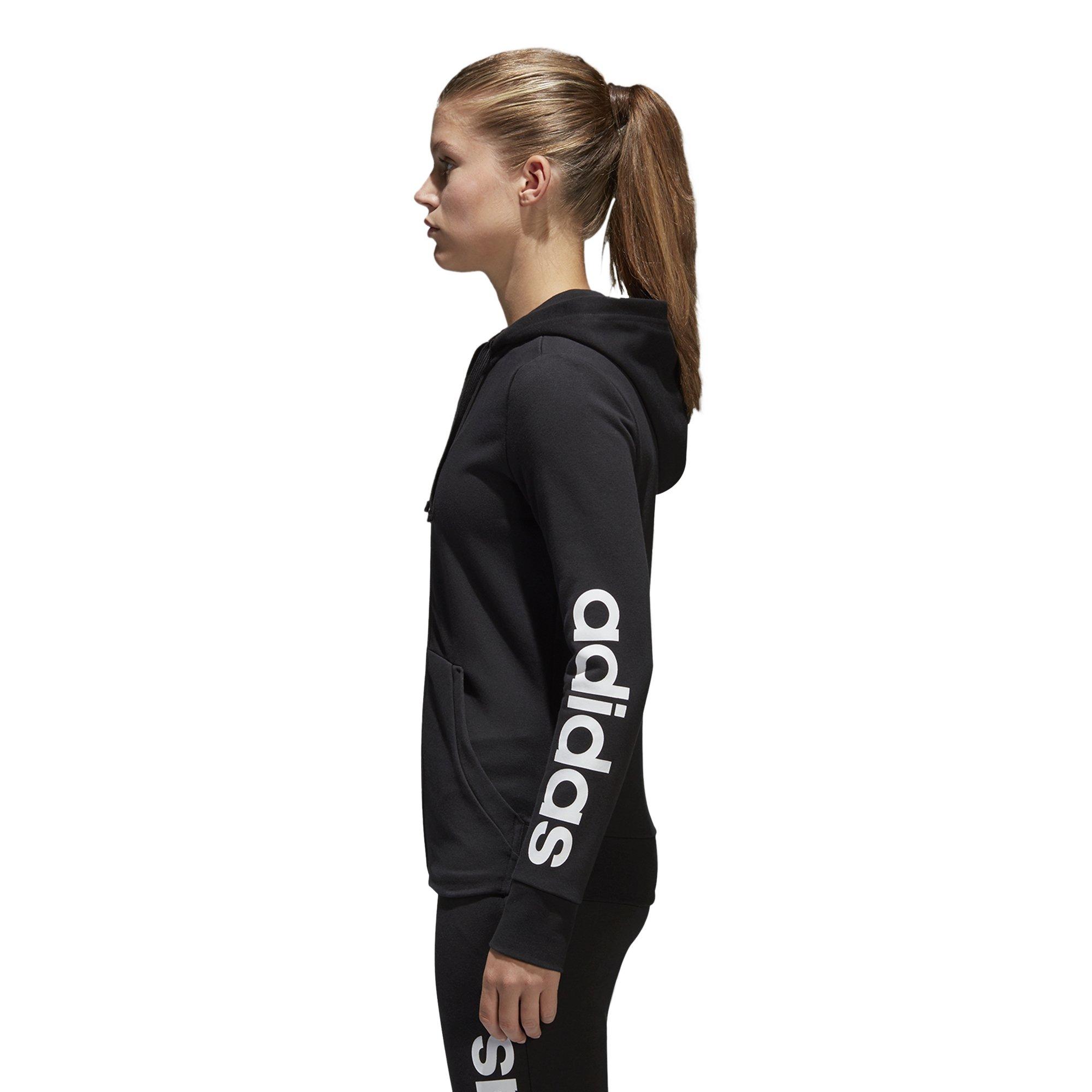 adidas Women's Essentials Linear Full Zip Fleece Hoodie, Black/White, X-Small by adidas (Image #3)