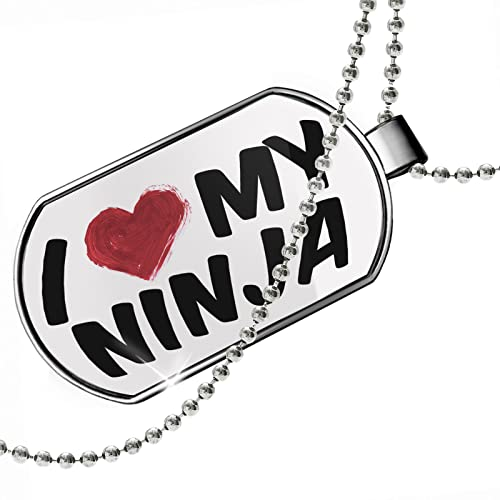 NEONBLOND Dogtag I Heart Love My Ninja Dog Tags Necklace ...