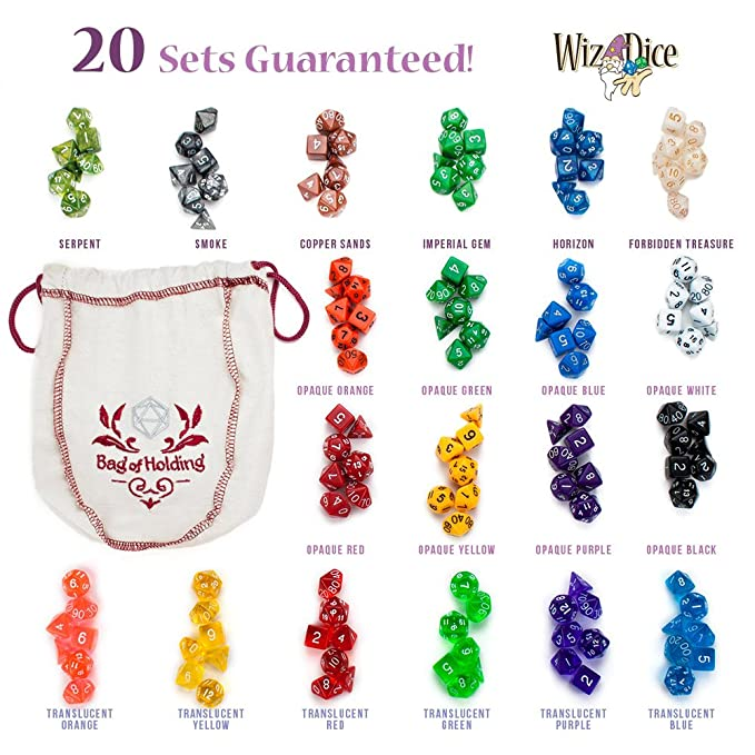 Amazon.com: Wiz Dice Bag of Holding: Collection of 140 Polyhedral ...