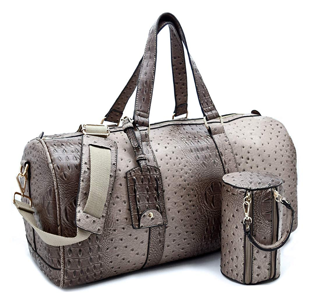 Taupe Le Miel 20.5  x 10.5  Ostrich Embossed Duffle Weekender w Strap + Barrel Bag