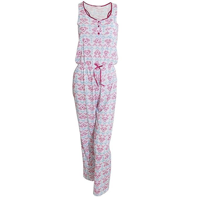 Pijama mono / entero sin mangas con estampado de corazones para mujer (40-42