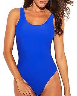 f5df346bec9ab Funnygirl Women s Sexy Retro One Piece Swimsuit High Cut Backless Beach  Swimwear Bathing Suit