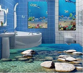 Weaeo 3d Bodenbelage Wasser Stein Gepflasterten 3d Malerei Im Bad