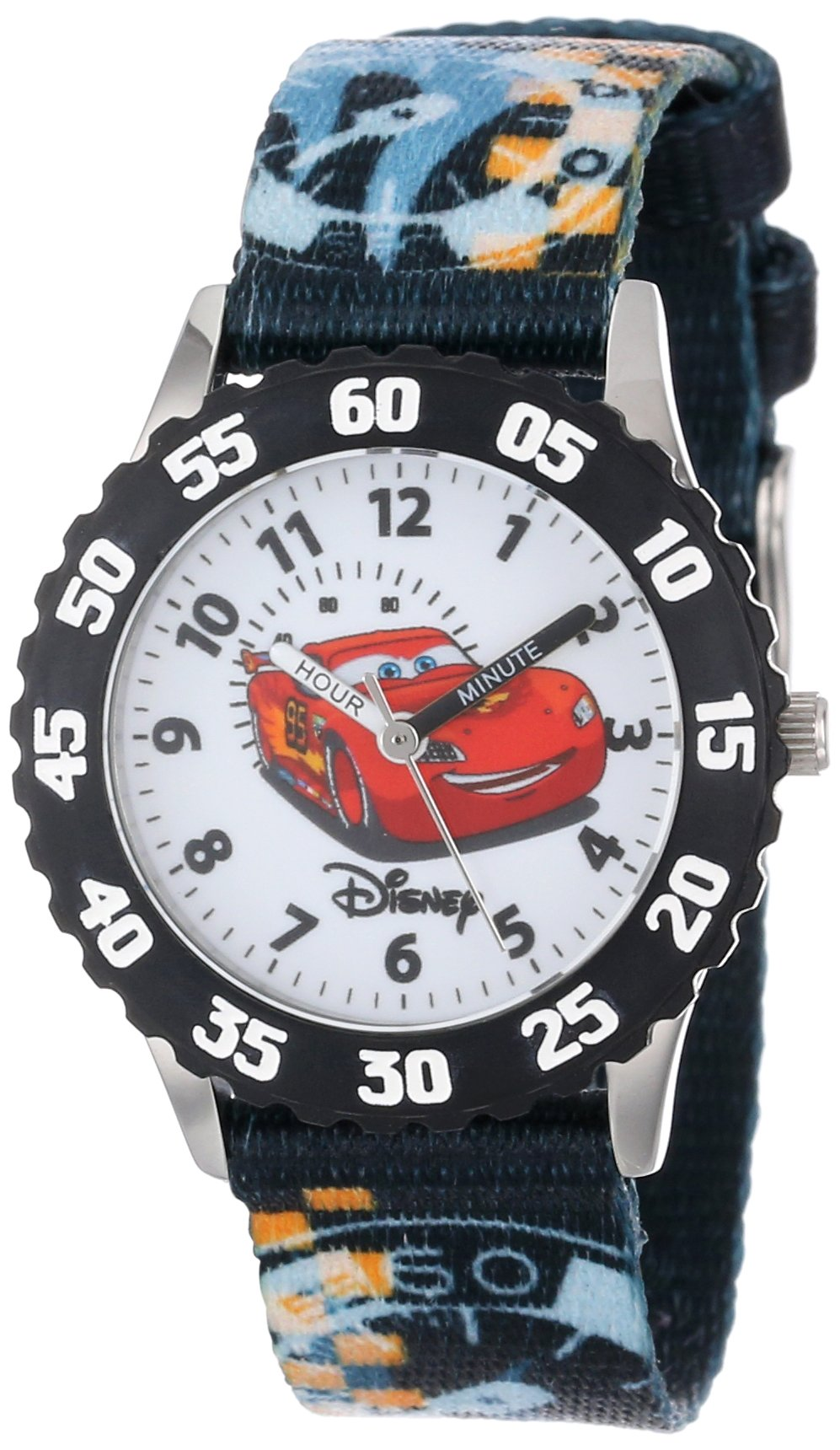 Disney Kids' W000371 ''Time Teacher'' Cars Stainless Steel Watch With Printed Nylon Band by Disney