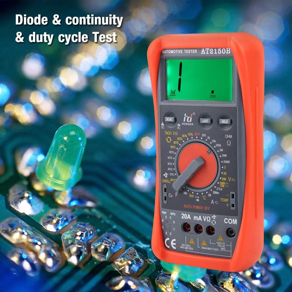 AT2150B Car Maintenance Table Auto Repair Digital Multimeter Handheld Automotive Tachometer Meter//LCD Display Digital Multimeter Accessories Backlight