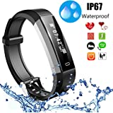 Wisfruit Fitness Tracker, Touchscreen Fitness Wristband, Bluetooth Smart Bracelet with Heart Rate Monitor, Step Counter, Sleep Monitor Function Compatible with iPhone Android Mobile
