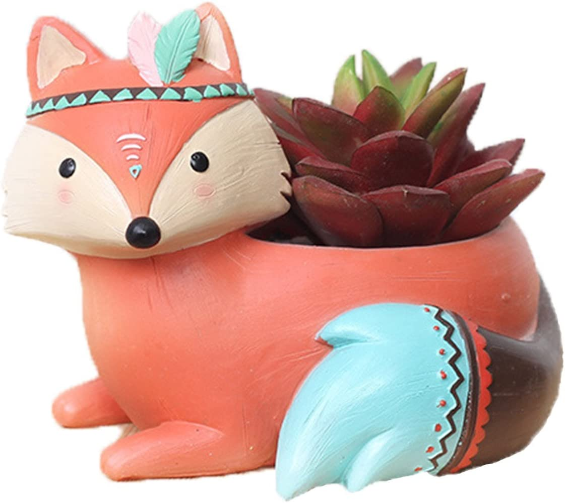 Youfui Home Decor Pot, Animal Succulent Planter Flowerpot for Home Office Desk Decoration (Charming Fox)