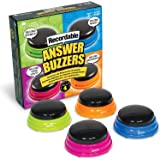 Learning Resources Recordable Answer Buzzers, Personalized Sound Buzzer, Recordable Buttons, Set of 4, Ages 3+