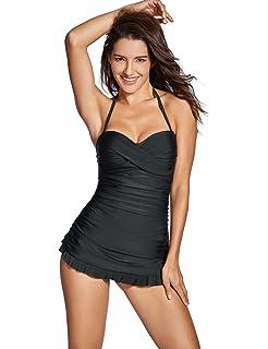51dcd6a9d8 Dovreva Women's One Piece Bandeau Halter Slim Bathing Dress Swimdress with  Skirt