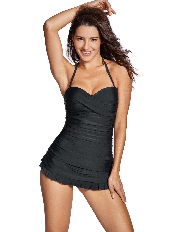 Dobreva - Bañador con Falda Traje de baño de Una Pieza Halter Para Mujer product image