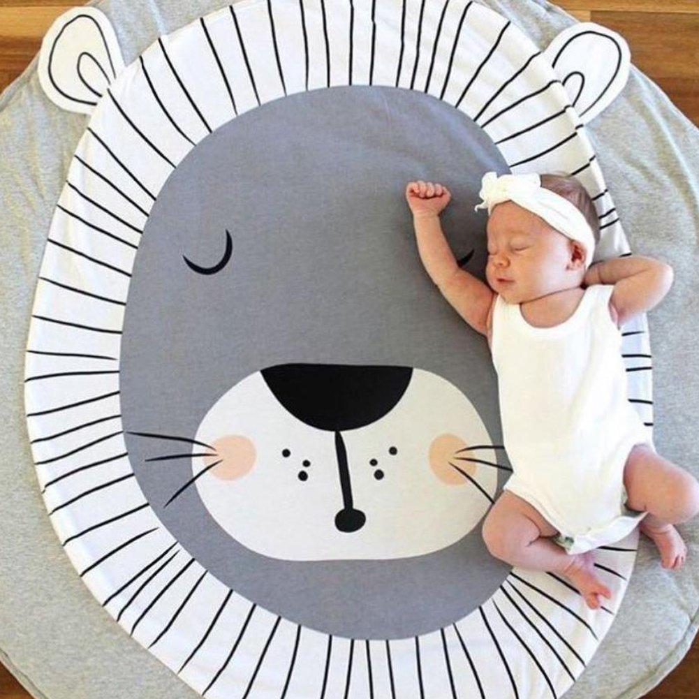 LvLoFit Cozy - Alfombrilla Acolchada de Algodón para bebé, para Jugar al trapeo, Dormir, Guardería, Actividades Animales, Decoración para el Suelo de la Habitación de los Niños, 90 cm León Talla:90cm craw mat lion