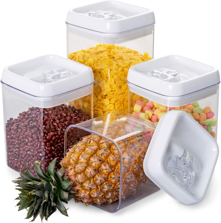 NUOLAN Recipientes Hermeticos ,Caja de conservación de alimentos hermética de plástico libre de BPA con tapa fácil de bloquear, conjunto de 4: Amazon.es: Hogar