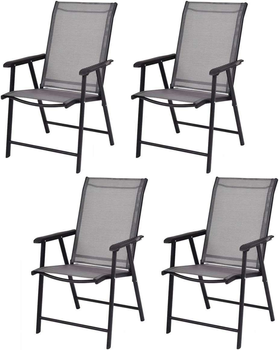 Giantex 4-Pack Patio Folding Chairs Portable for Outdoor Camping, Beach, Deck Dining Chair w Armrest, Patio Chairs Set of 4, Grey