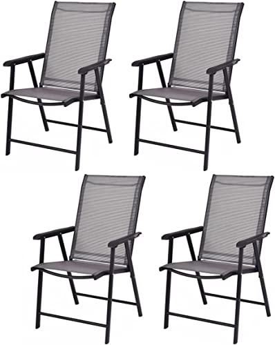 Giantex 4-Pack Patio Folding Chairs Portable